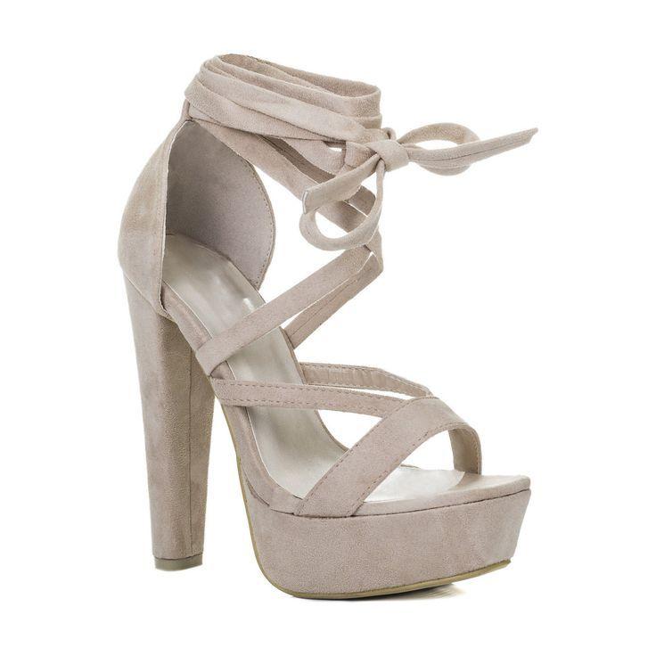 Spylovebuy Noxx Damen Sandalen Mit Schnurung Und Blockabsatz Schuhe Pumps Beige Beige Fashion High He Sandalen Mit Blockabsatz Schuhe Damen Beige Schuhe