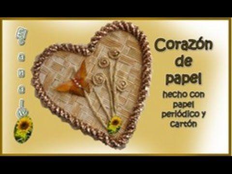 CORAZON DE PAPEL hecho con papel periódico y cartón - PAPER HEART done w...