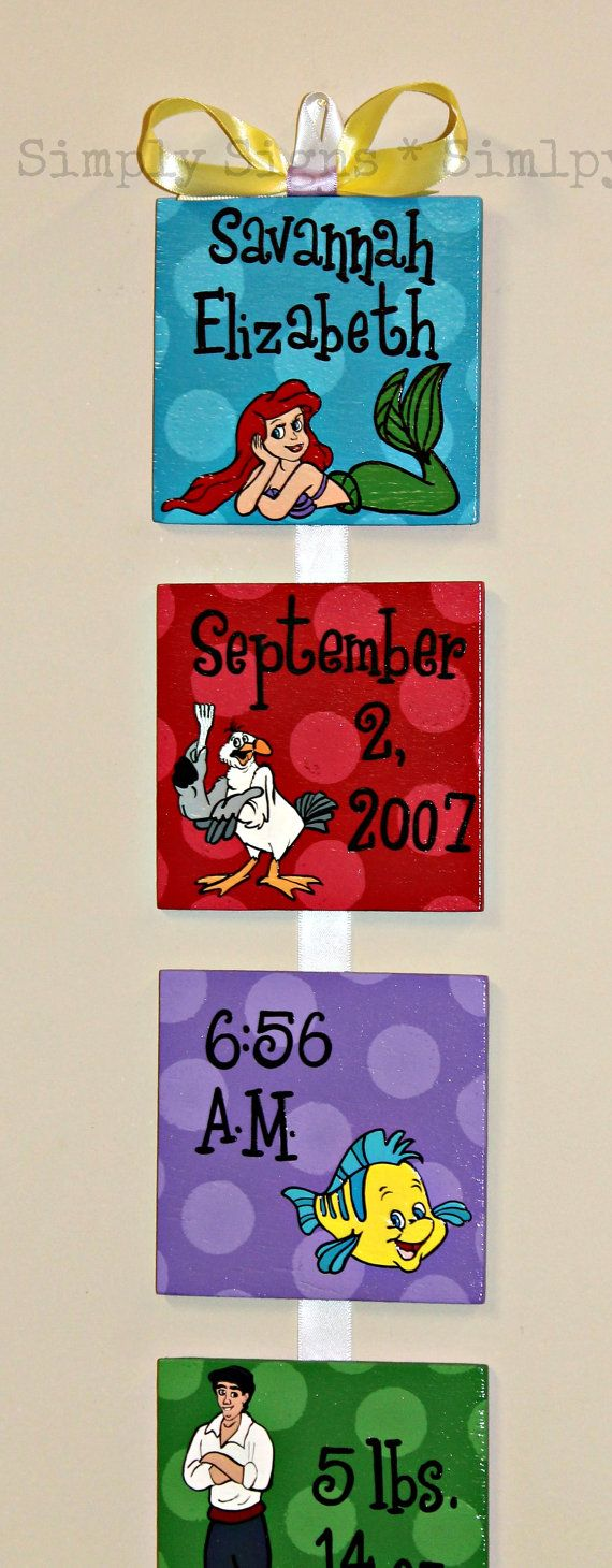 The Little Mermaid Disney Style Birth by SimplySignsByJess on Etsy...I need to get this for miss