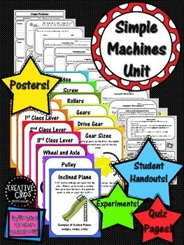 Adorable Simple Machines Unit!!POSTERS           STUDENT PRINTABLES         QUIZ PAGESEXPERIMENTS             QUICK LESSONSGraphics by mycutegraphics.comVisit mycutegraphics.com for the sweetest little characters!And Creative Clips by Krista WalldenVisit her TPT page for adorable additions to your classroom!Simple machines are so much fun to teach and learn!