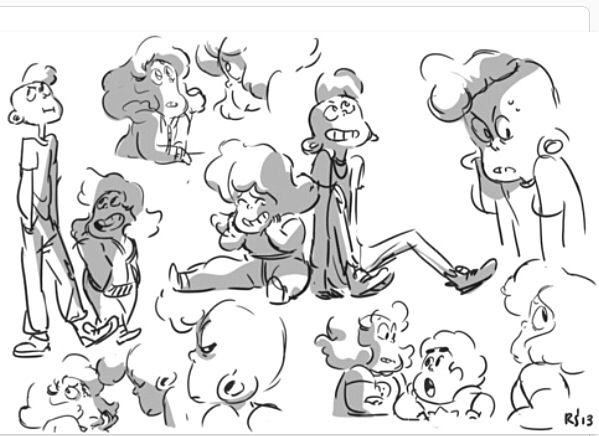 Sadie and Lars (from Steven Universe) sketches by Rebecca Sugar