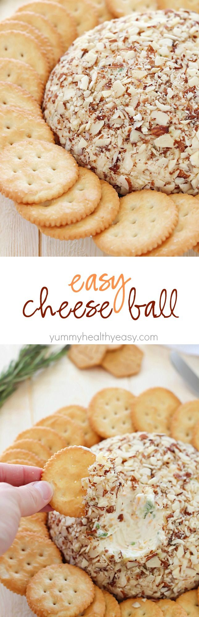 A super easy cheese ball that's sure to impress any guests! It's creamy, tangy, irresistible and won't take more than a few minutes to whip up!