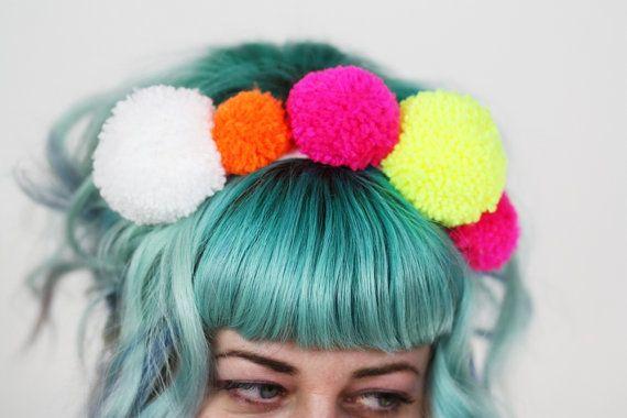 Pom Pom Headband Neon Colours Kahlo Inspired UV by JanineBasil, £22.00