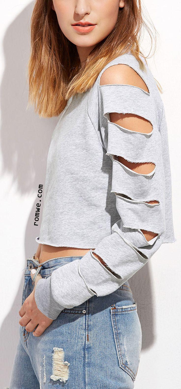 Grey Ladder Ripped Sleeve Raw Hem Crop Sweatshirt