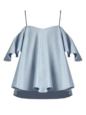 When it comes to fresh femininity, shoulder-baring silhouettes say it best. Anna October masters the look with this sky-blue cotton-poplin top, which falls from skinny navy velvet shoulder straps to float weightlessly over the body.