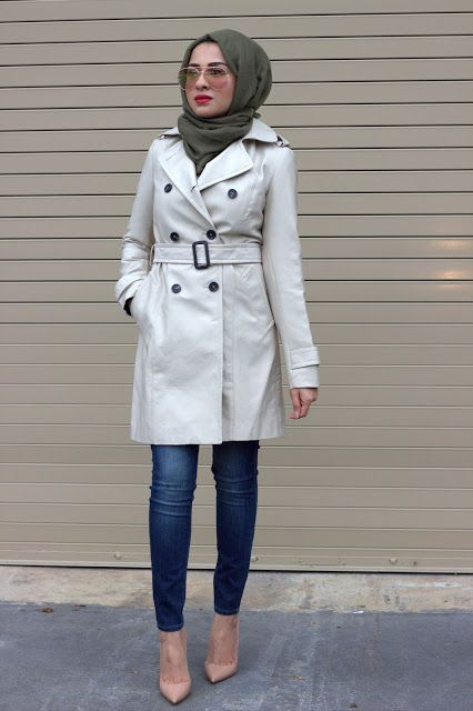 trench coat with hijab- Hijab looks by Sincerely Maryam
