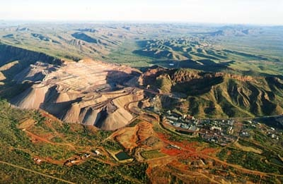 The Argyle diamond mine on the Kimberley plateau of Western Australia