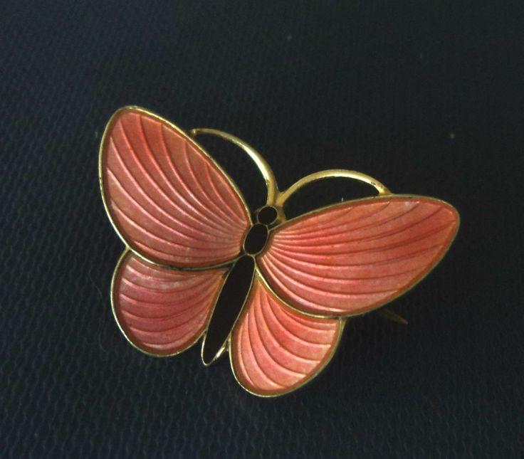 Norwegian Sterling Silver & Pink Enamel Butterfly Brooch - Aksel Holmsen