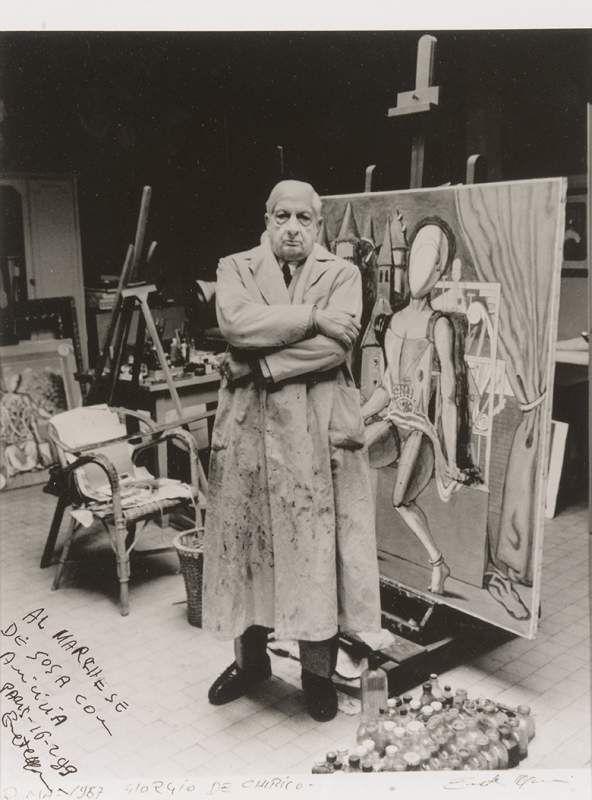 Mimmo Rotella (1918-2006) - Giorgio de Chirico dans son atelier, Rome, 1987