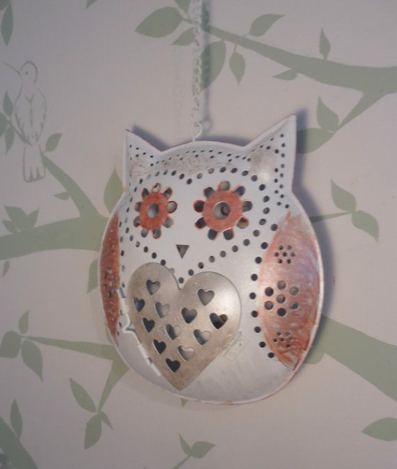Hanpainted Owl Candle Holder- Hanging Lantern (20inches)