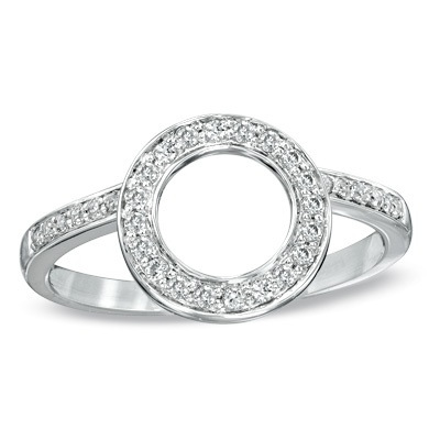 1/4 CT. T.W. Diamond Halo Solitaire Enhancer in 14K White Gold - Zales