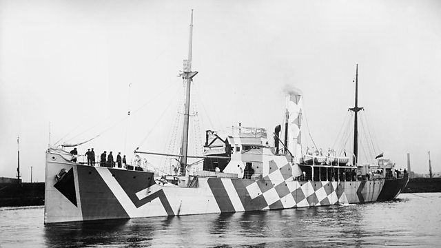 """Dazzle"" camouflage was first presented by artist Norman Wilkinson in WWI. The thought was to make it harder for enemy to get an accurate distance or speed from the battleships making it harder to sink them."