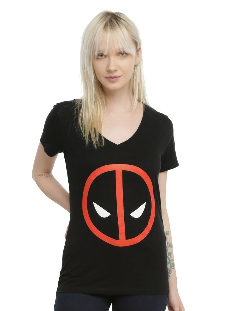 <p>Fitted black V-neck tee from Marvel with a <i>Deadpool</i> logo design on front.</p>  <ul> 	<li>100% cotton</li> 	<li>Wash cold; dry low</li> 	<li>Imported</li> 	<li>Listed in junior sizes</li> </ul>