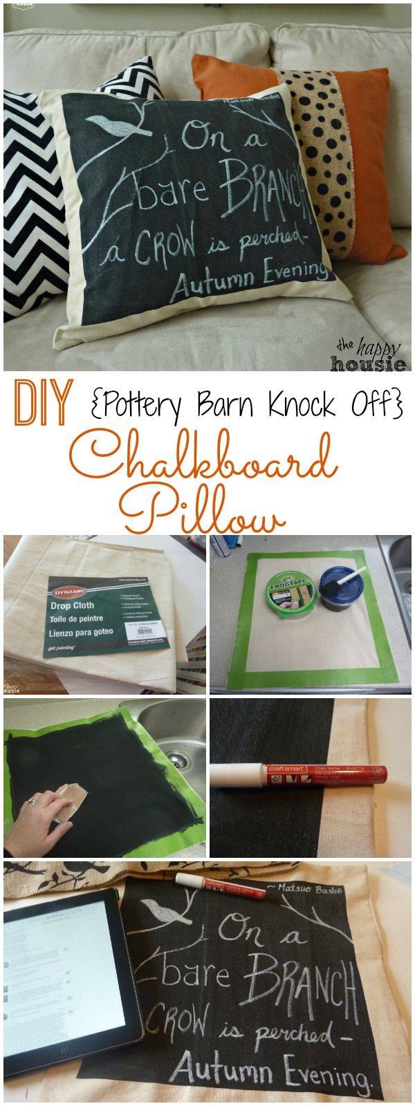 How to make your own DIY Pottery Barn Knock Off Chalkboard Pillow - perfect for…