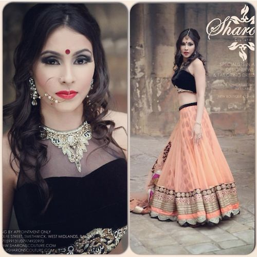 Sharon's Couture Peach #Lehenga With Black #Blouse.