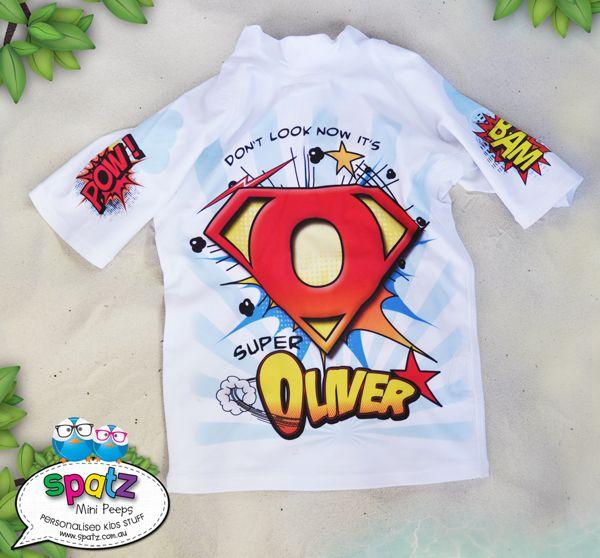 Super Hero With Cape - Full Print Personalised Kids Rashie Sun Shirt