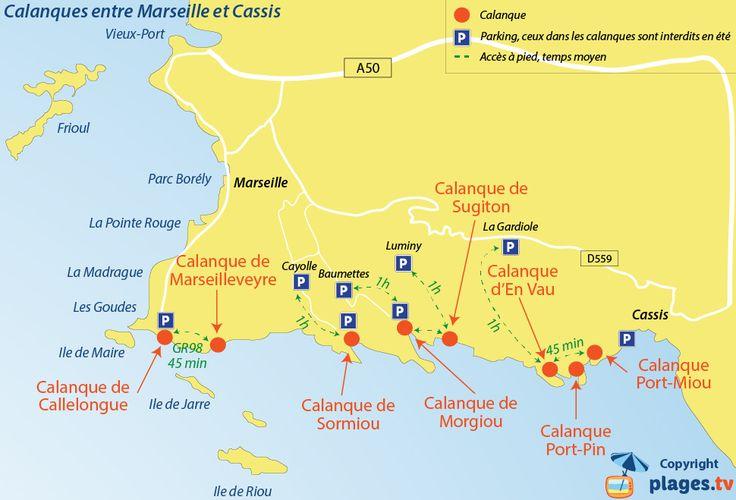 Plan d'accès aux calanques de Marseille et Cassis
