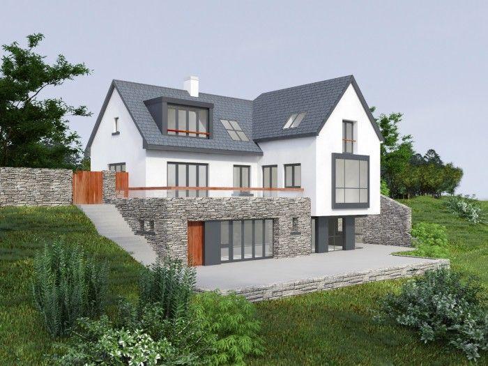 stone clad mix white split level bungalow - Google Search
