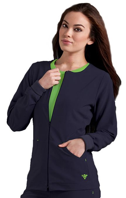 This #warmup jacket has a zip pull and two roomy pockets. Color featured here: Navy