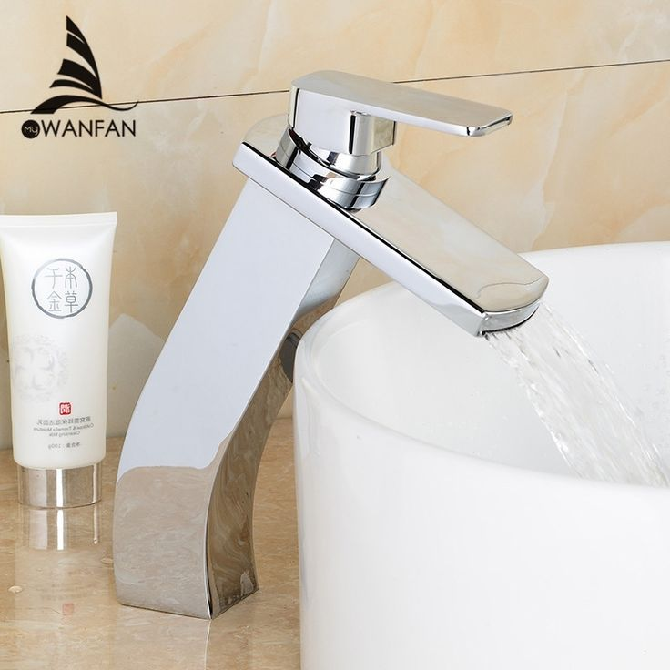59.40$  Buy here - http://aikvk.worlditems.win/all/product.php?id=32792808382 - Contemporary bathroom chrome/golden faucet square tall faucets  waterfall water tap deck mounted basin mixer LH-16855