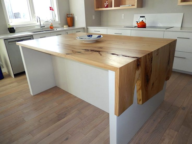 Wood accented waterfall countertops (Rempel's Elm Waterfall Countertop via woodanchor.com) - Waterfall Kitchen Countertops