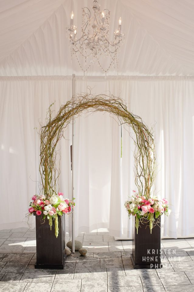 curly willow arches weddings | Curly willow forms a ceremonial arch, with lush floral in copper ...