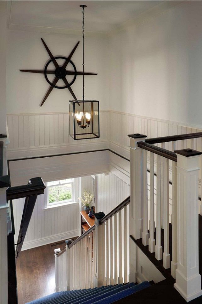 Secondary stairway at Further Lane Farm, East Hampton, NY - Classic Hamptons Beach House - Summer Style