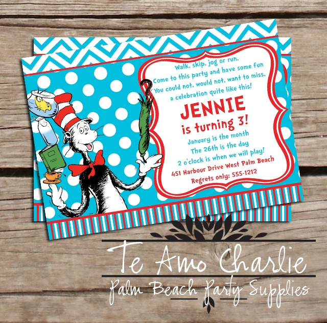 17 best images about Dr Seuss Birthday Party – Cat in the Hat Party Invitations