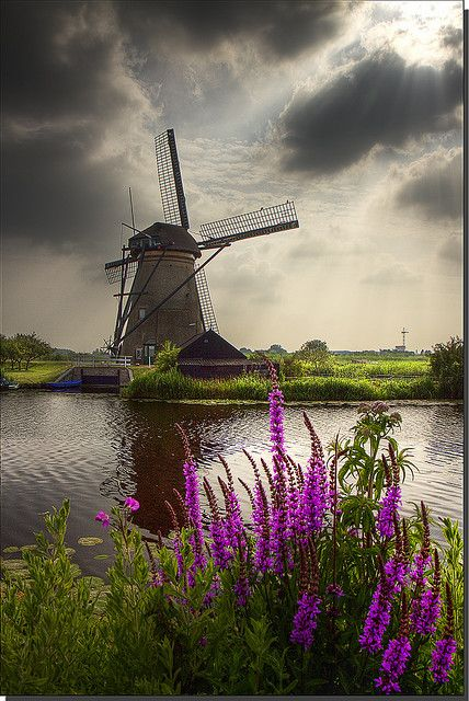 Windmill @ Kinderdijk, Netherlands.  Holland, reclaimed from the ocean and very well cared for.  The Dutch people were industrious and very kind.  Walking through one of these working mills was educational and interesting.