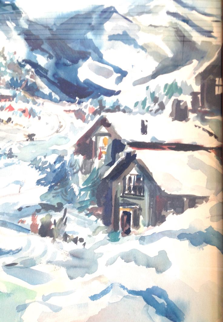 Wormwood Frame Original Watercolor Ski Chalet Colorado Signed Artist B. Cole Olympic Village Mountains Village Fun Entertainment by AntiqueShack on Etsy
