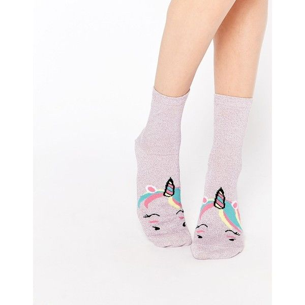 ASOS Glittery Unicorn Face Ankle Socks (68.100 IDR) ❤ liked on Polyvore featuring intimates, hosiery, socks, pink, patterned ankle socks, ankle socks, glitter socks, print socks and patterned socks
