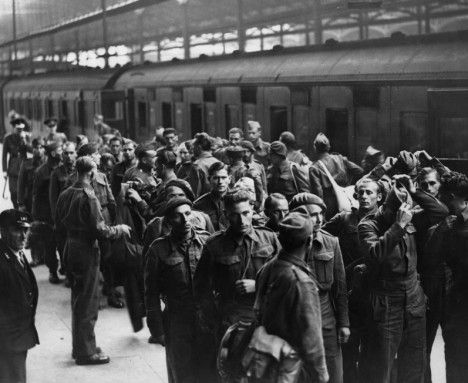 WW II French prisoners of war who had escaped German POW Camp arrive in England to join the ranks of the Free French Armed Forces in Exile in September 1941.