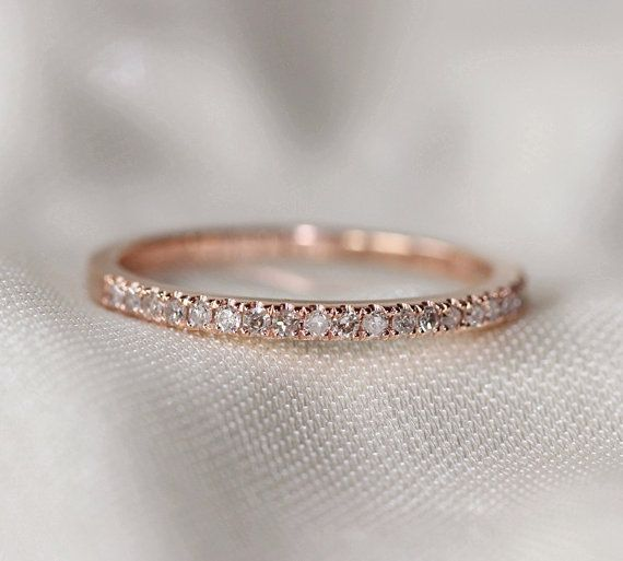 Thin Design 14k Rose Gold Wedding Ring Pave 0.17ct SI/H Diamond  Engagement Ring/ Matching Band/ Full Eternity Band