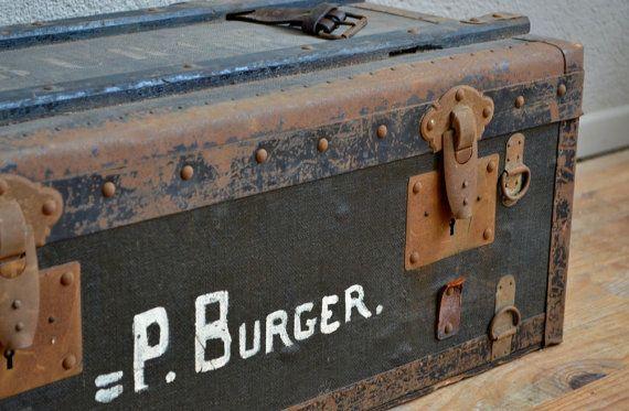 malle valise cantine caisse en bois vintage r tro boh me ann es 30 militaire antic trunk wooden. Black Bedroom Furniture Sets. Home Design Ideas