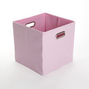 Pink Canvas Storage Box With Lid