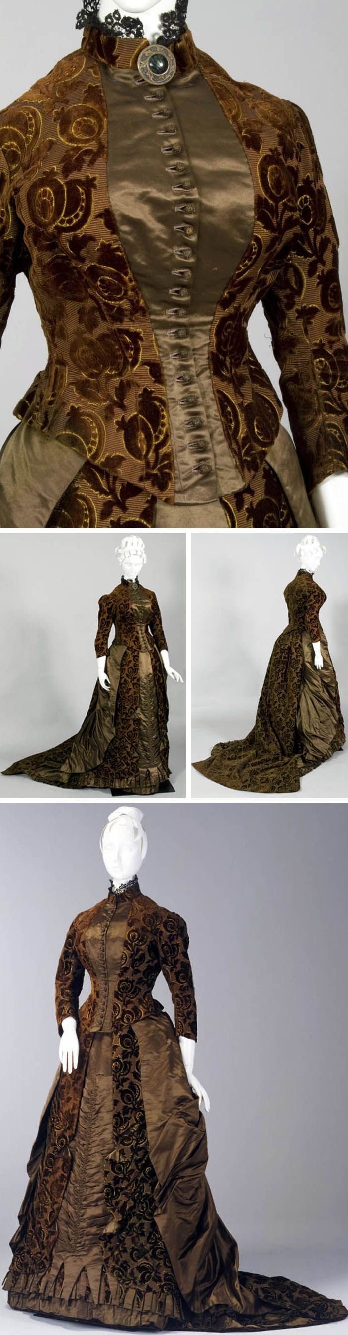 Day dress, England, ca. 1885. Olive green corded silk patterned in cut velvet & matching satin. Fitted bodice & bustled skirt with small train. Bodice of patterned cut velvet with central satin panel & center front opening of fabric-covered buttons. Skirt with alternating panels of satin and patterned cut velvet, with side satin panels draped towards the bustled back. Hem trimmed with pleated satin and elaborate layers of peaked fabric. Powerhouse Museum