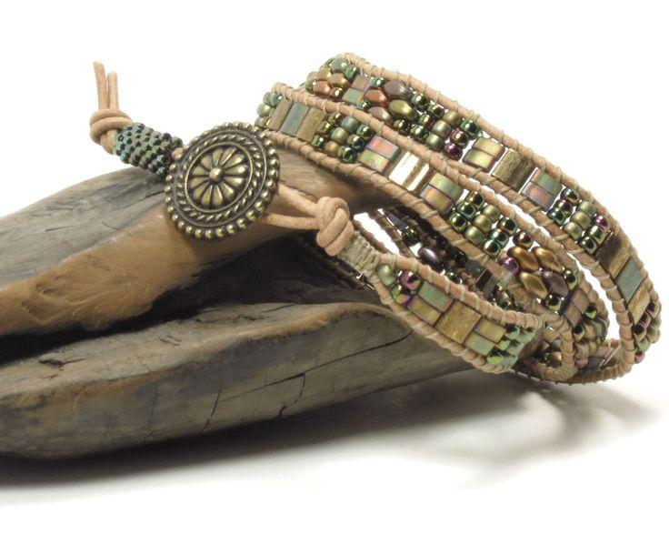 TRIPLE WRAP LEATHER Bracelet-SuperDuos-Miyuki Tilas-Miyuki Half Tilas-Toho Seed Beads-TierraCast Bali Button-Boho-Chic-Hippie(TW4) by CinfulBeadCreations on Etsy