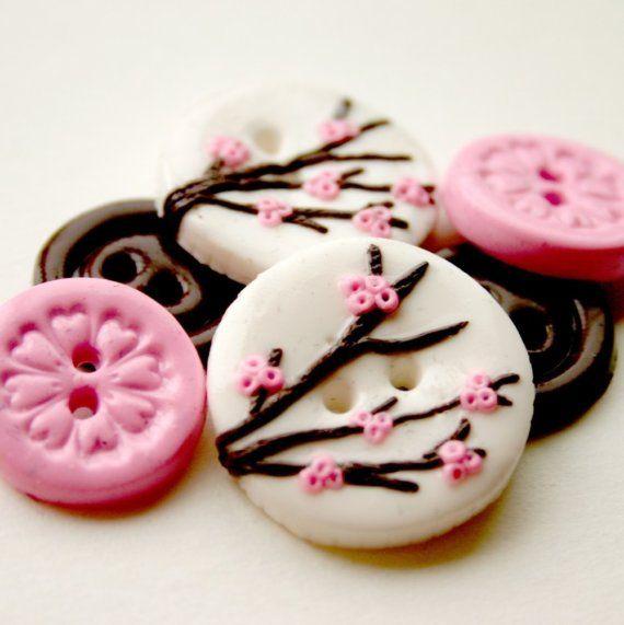 Cherry Blossoms (handmade buttons set of 6)