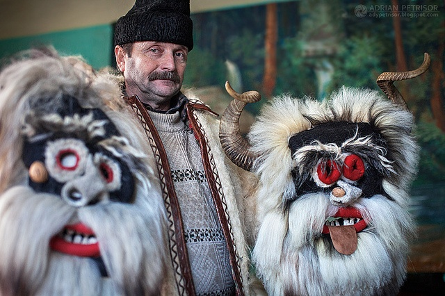 """Traditional """"Mosi"""" masks craftsman Vasile Susca. Yes, those are real animal horns.Photo by Adrian Petrisor, via Flickr"""