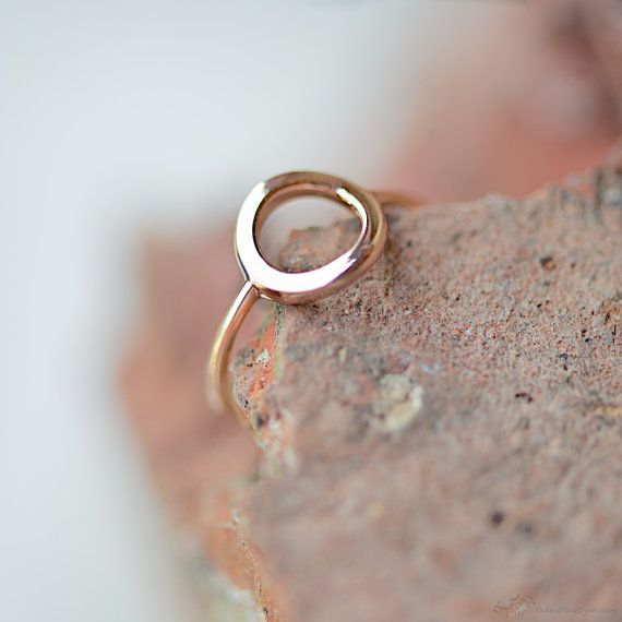 Rosé Gold Ring With Circle by lebenslustiger on Etsy, $45.00 - LOVE! Need to buy!