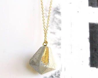 Beton diamanten halsketting, lange gouden ketting, dagelijks sieraden, eenvoudige ketting, geometrische ketting, moderne sieraden, Concrete sieraden cadeau