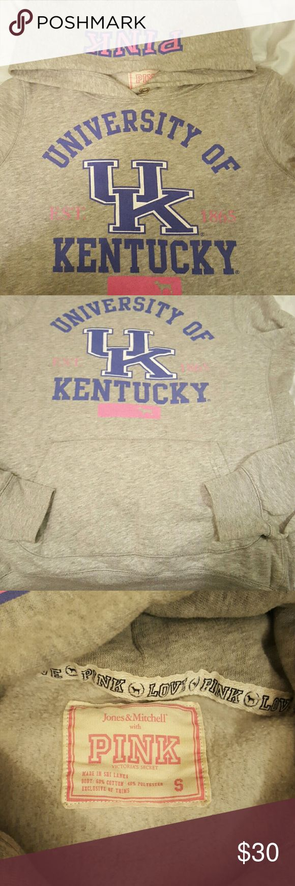 PINK University of Kentucky UK Sweatshirt Are you ready for March Madness?!? Victoria's Secret PINK UK Wildcats sweatshirt that is ready to be worn!! No stains, holes, etc. No string to tighten the hood. Says PINK on the hood of the sweatshirt. PINK Victoria's Secret Tops Sweatshirts & Hoodies