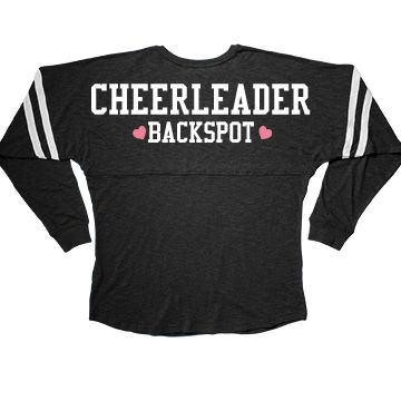 Cute Cheerleader Backspot Long Sleeve Squad Slub | Being the backspot on a stunt cheer leading team is an important thing! You protect everybody, and I mean everybody. The flyer, the spot, the base, they all depend on you to save them if something goes wrong. It's like the ultimate trust fall. This long sleeved tee is perfect for the backspot!