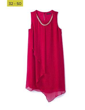 red embellished layered tunic