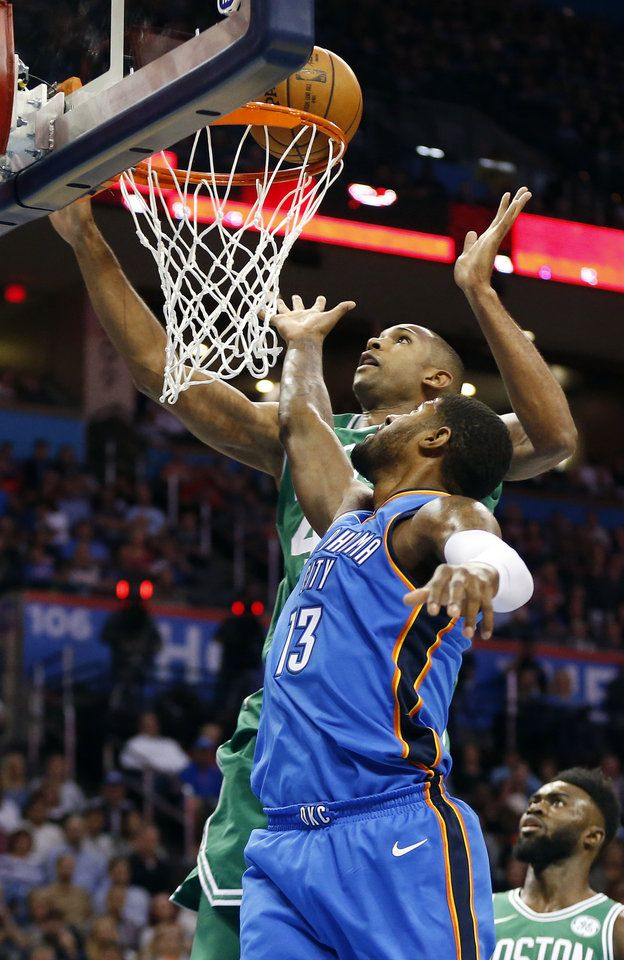 Oklahoma City's Paul George (13) defends Boston's Al Horford (42) during an NBA basketball game between the Oklahoma City Thunder and the Boston Celtics at Chesapeake Energy Arena in Oklahoma City, Friday, Nov. 3, 2017. Photo by Nate Billings, The Oklahoman