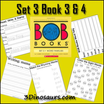 BOB Books Set 3 Books 3 & 4: Vowel Word Paths, Read Write & Stamp, Making BOB Book Words, Write a Sentence with the Word, Color as You Read, Color the Sight Word, Tally Mark as you read, Rhyming Word matching and Cube Flashcards. - from 3 Dinosaurs