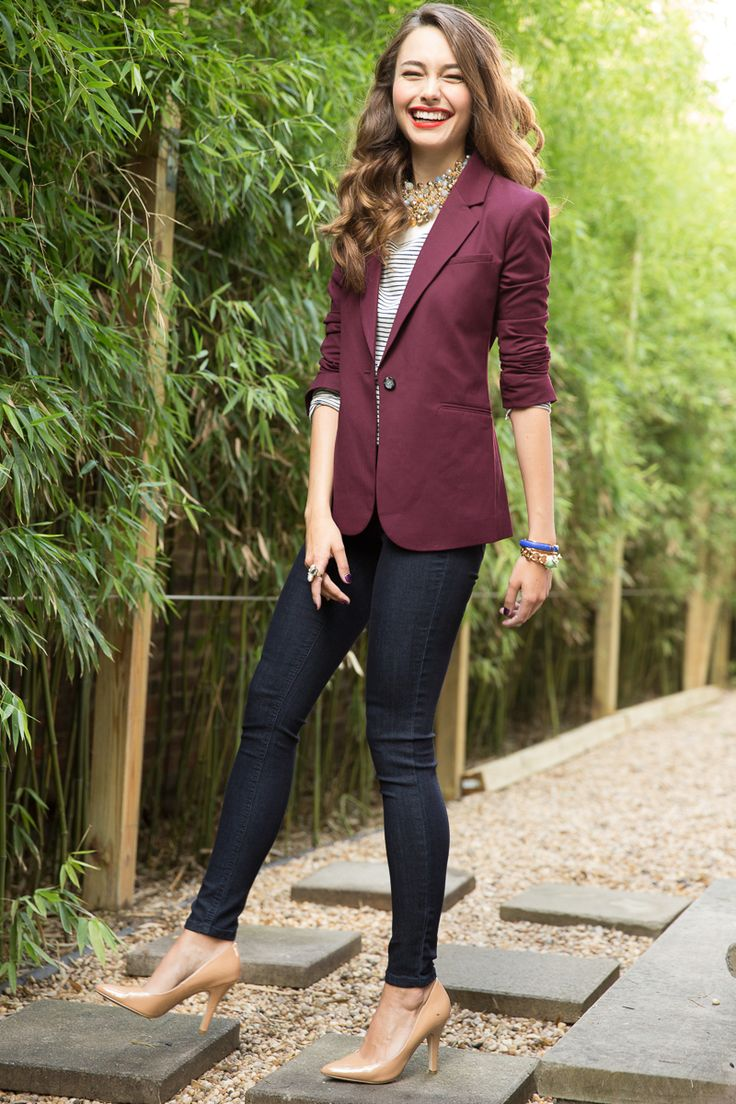 Colored blazers and nude pumps and a statement necklace is a recipe for chic and put together. #casualfriday