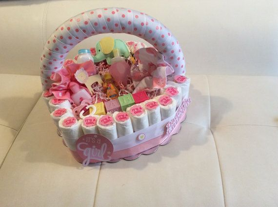 Diaper Cake Basket/Diaper Cake/Baby Shower by BABYDIAPERBOUTIQUE