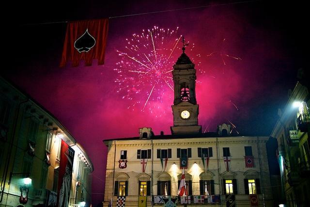 Fireworks on Lungo Dora in honour of Miller's daughter, Ivrea Carnival, Italy by Vincent Besanceney, via Flickr