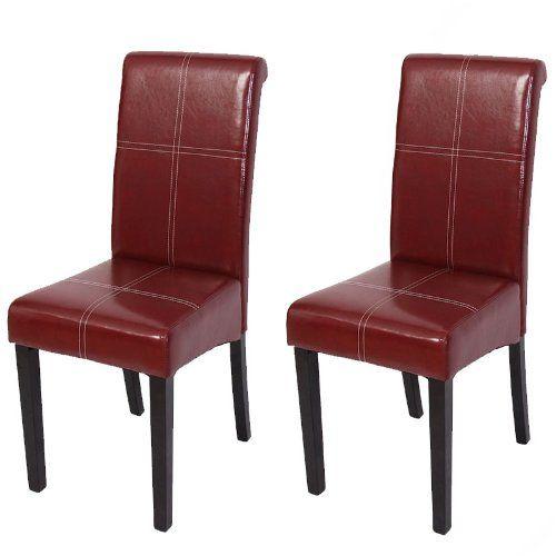 Set 2x sedie Novara III pelle sala da pranzo 42x65x100cm ~ rosso piedi scuri Mendler http://www.amazon.it/dp/B00C2U7F22/ref=cm_sw_r_pi_dp_.zyVub1ZSYJTR